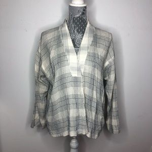 Madewell Wrap Front Top Black White Plaid Medium